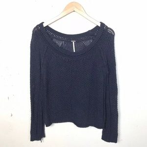 Free People Navy Scoop Neck Knit Sweater Small